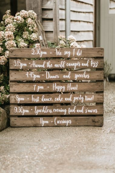 Wooden pallet signs at travel themed wedding
