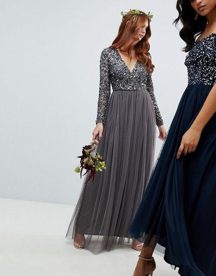 Sequinned Bridesmaids Dress In Charcoal Grey From Maya at ASOS