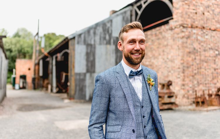 Groom in Blue Check Moss Bros. Suit with Bow Tie   Vintage Fairground at Blists Hill Victorian Town Museum in Ironbridge   Lisa Carpenter Photographer