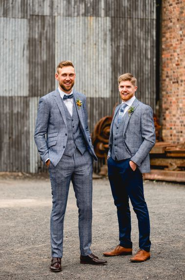 Groomsmen in Blue Check Moss Bros. Suits   Vintage Fairground at Blists Hill Victorian Town Museum in Ironbridge   Lisa Carpenter Photographer