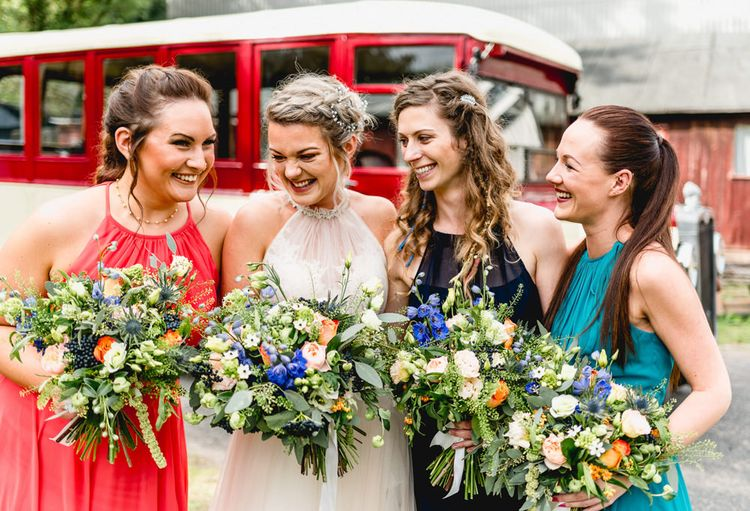 Bridal Party   Bridesmaids in Different Colour Dresses   Bride in Tulle Allure Bridal Gown   Vintage Fairground at Blists Hill Victorian Town Museum in Ironbridge   Lisa Carpenter Photographer