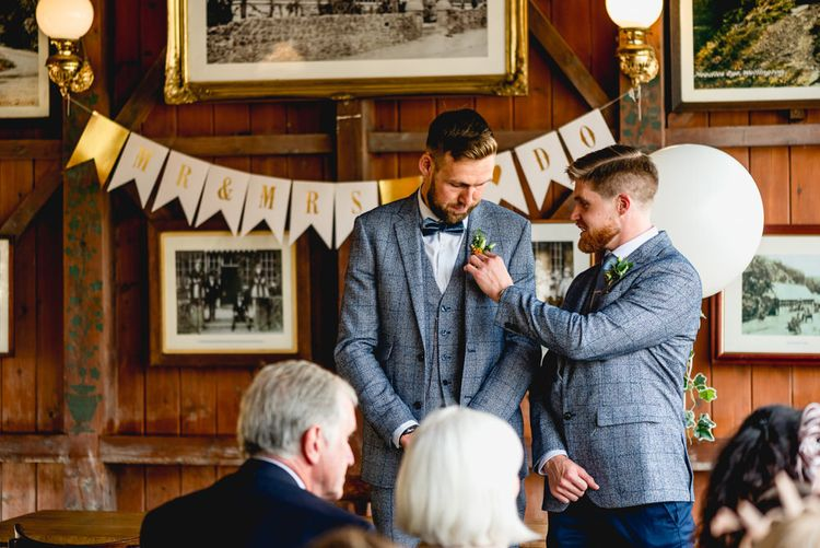 Wedding Ceremony   Groom at the Altar in Blue Check Moss Bros. Suit   Vintage Fairground at Blists Hill Victorian Town Museum in Ironbridge   Lisa Carpenter Photographer
