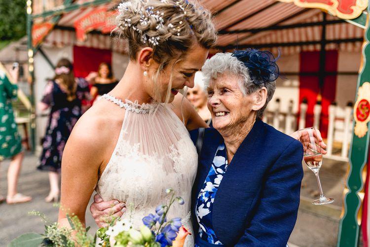 Bride in Halterneck Allure Bridal Gown with Nan   Vintage Fairground at Blists Hill Victorian Town Museum in Ironbridge   Lisa Carpenter Photographer