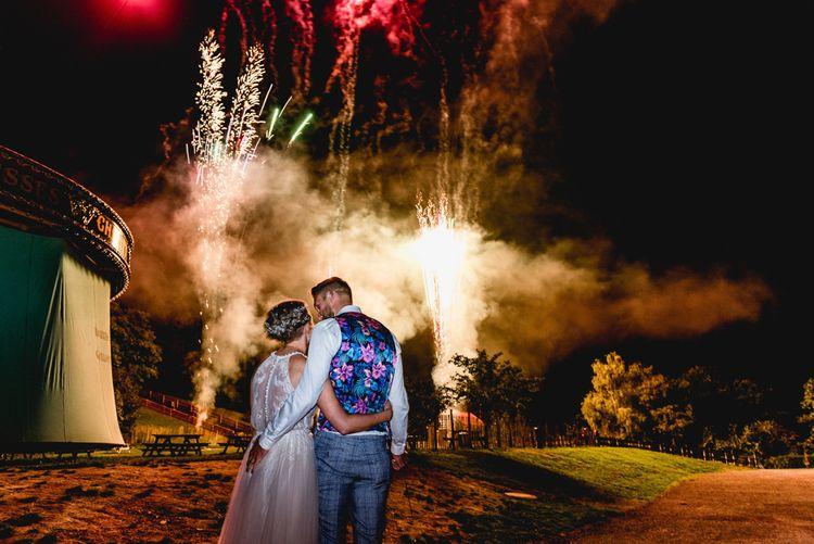 Fireworks Display   Bride in Halterneck Tulle Allure Bridal Wedding Dress   Groom in  Blue Check Moss Bros. Suit   Vintage Fairground at Blists Hill Victorian Town Museum in Ironbridge   Lisa Carpenter Photographer