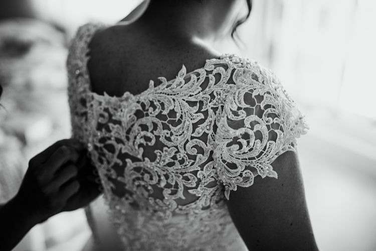 Embroidered Lace Jacket For Bride // Woodland Luxe Wedding With Personalised Wooden Place Mats For Guests Marquee Wedding At Home With Images From Darina Stoda Photography