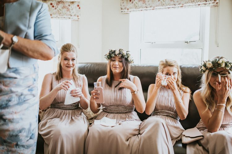 Bridesmaids In Pale Grey Dresses // Woodland Luxe Wedding With Personalised Wooden Place Mats For Guests Marquee Wedding At Home With Images From Darina Stoda Photography