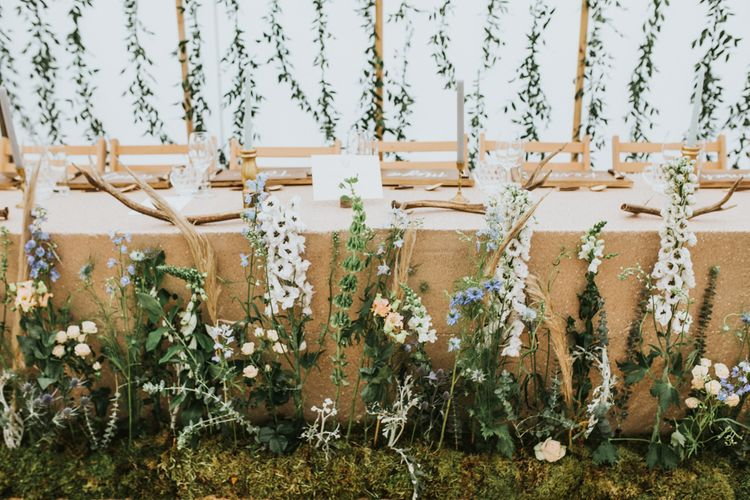 Hanging Foliage Display For Marquee Wedding // Woodland Luxe Wedding With Personalised Wooden Place Mats For Guests Marquee Wedding At Home With Images From Darina Stoda Photography