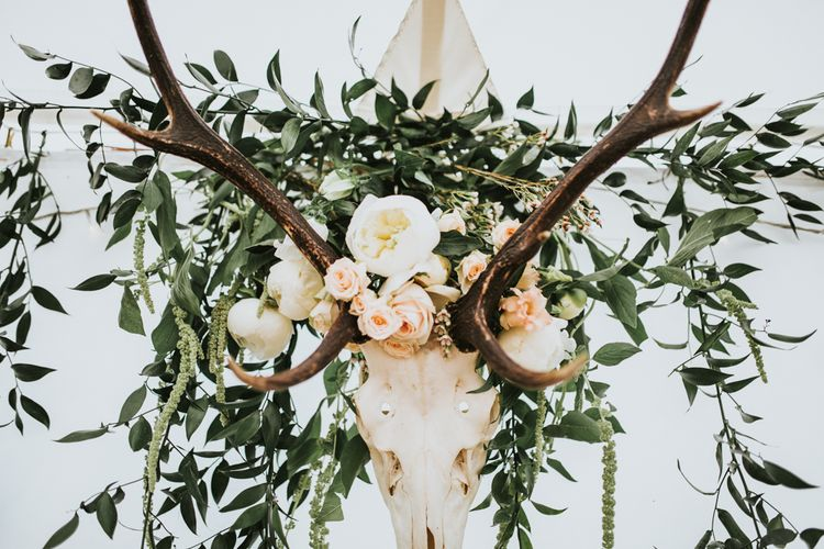 Antler Decor For Woodland Luxe Wedding With Personalised Wooden Place Mats For Guests Marquee Wedding At Home With Images From Darina Stoda Photography