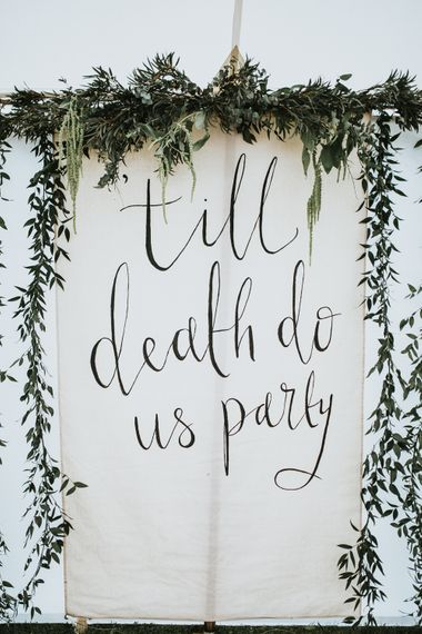 Hanging Linen Sign For Wedding // Woodland Luxe Wedding With Personalised Wooden Place Mats For Guests Marquee Wedding At Home With Images From Darina Stoda Photography