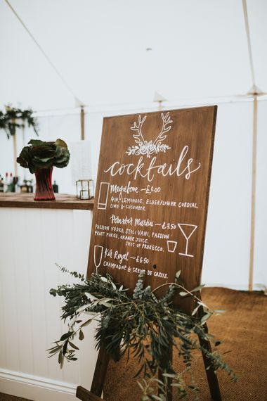 Cocktail Bar Sign For Wedding // Woodland Luxe Wedding With Personalised Wooden Place Mats For Guests Marquee Wedding At Home With Images From Darina Stoda Photography