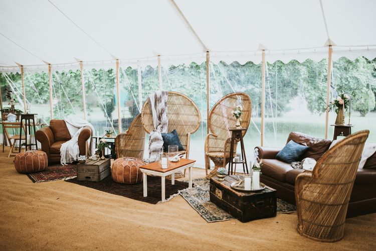 Boho Seating Area For Wedding // Woodland Luxe Wedding With Personalised Wooden Place Mats For Guests Marquee Wedding At Home With Images From Darina Stoda Photography