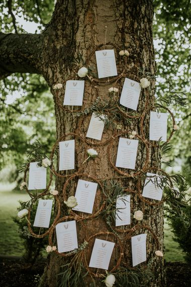 Table Plan On Tree For At Home Wedding // Woodland Luxe Wedding With Personalised Wooden Place Mats For Guests Marquee Wedding At Home With Images From Darina Stoda Photography