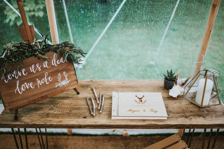 Stag Head Guest Book For Wedding // Woodland Luxe Wedding With Personalised Wooden Place Mats For Guests Marquee Wedding At Home With Images From Darina Stoda Photography