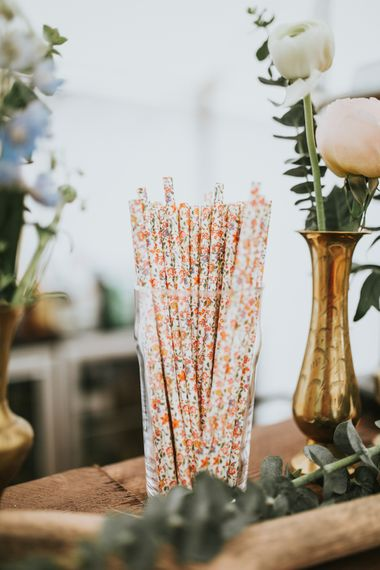 Paper Straws // Woodland Luxe Wedding With Personalised Wooden Place Mats For Guests Marquee Wedding At Home With Images From Darina Stoda Photography