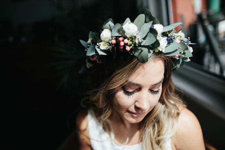 Bride In Flower Crown // Second Hand Wedding Dress For An Eco Friendly Budget Wedding At Slade Farm In Wales With Images From Francesca Hill Photographer