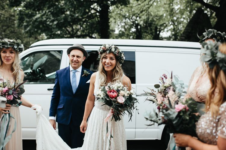 Bride In Floral Crown // Intimate Wedding Ceremony // Beach Wedding In Wales // Second Hand Wedding Dress For An Eco Friendly Budget Wedding At Slade Farm In Wales With Images From Francesca Hill Photographer