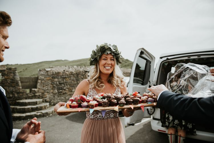 Bridesmaids With Cake Sharing Board For Wedding // Beach Wedding In Wales // Second Hand Wedding Dress For An Eco Friendly Budget Wedding At Slade Farm In Wales With Images From Francesca Hill Photographer