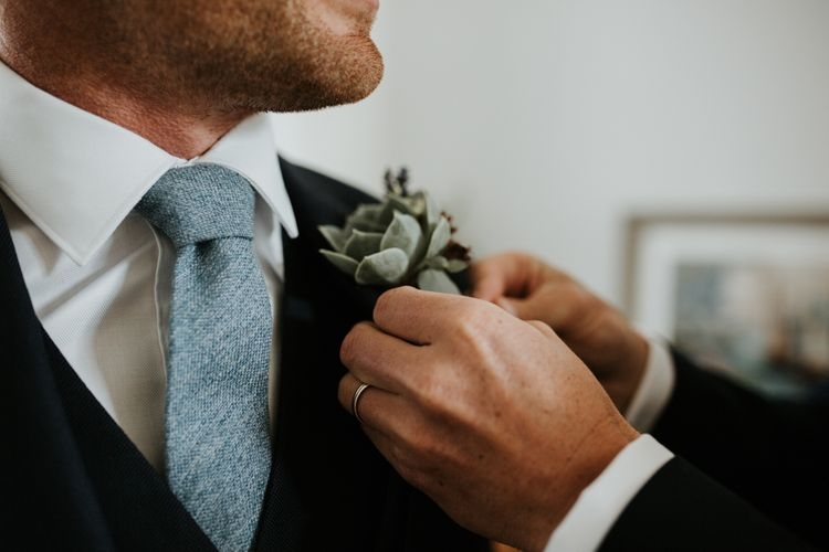 Succulent Buttonhole For Groom // Second Hand Wedding Dress For An Eco Friendly Budget Wedding At Slade Farm In Wales With Images From Francesca Hill Photographer