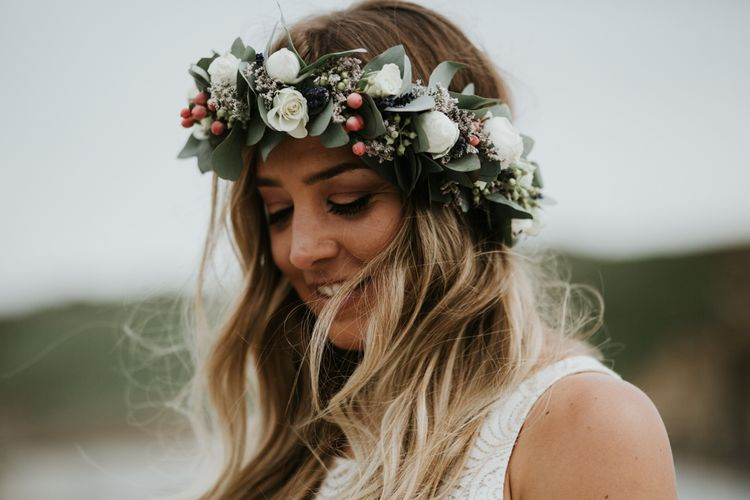 Bride In Flower Crown // Beach Wedding In Wales // Second Hand Wedding Dress For An Eco Friendly Budget Wedding At Slade Farm In Wales With Images From Francesca Hill Photographer
