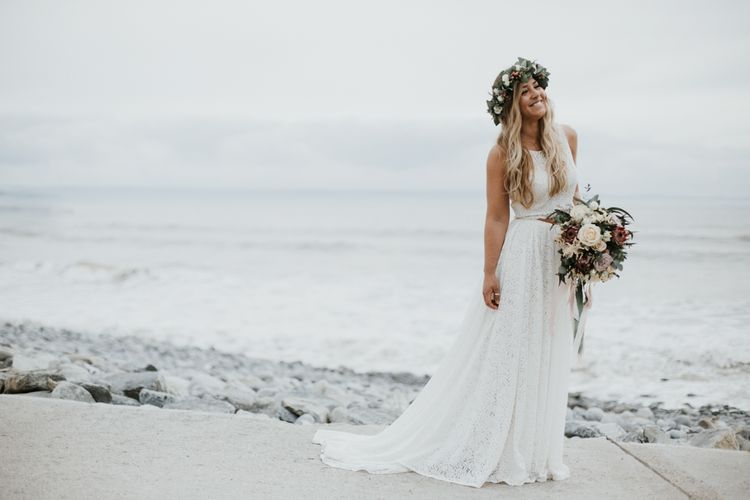 Beach Wedding In Wales // Second Hand Wedding Dress For An Eco Friendly Budget Wedding At Slade Farm In Wales With Images From Francesca Hill Photographer