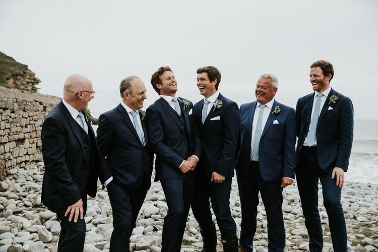 Groom & Groomsmen In Navy Suits // Eco Friendly Budget Wedding At Slade Farm In Wales With Images From Francesca Hill Photographer