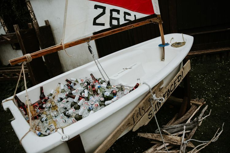 Beers And Drinks In Ice Boat For Wedding // Eco Friendly Budget Wedding At Slade Farm In Wales With Images From Francesca Hill Photographer