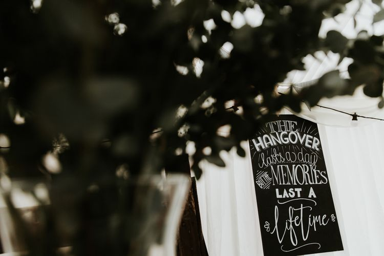 Chalkboard Wedding Sign // Eco Friendly Budget Wedding At Slade Farm In Wales With Images From Francesca Hill Photographer
