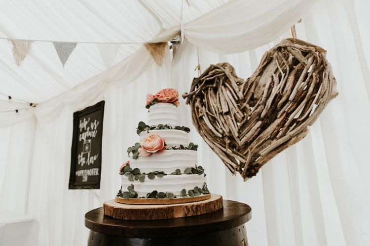 Buttercream Wedding Cake With Foliage // Eco Friendly Budget Wedding At Slade Farm In Wales With Images From Francesca Hill Photographer