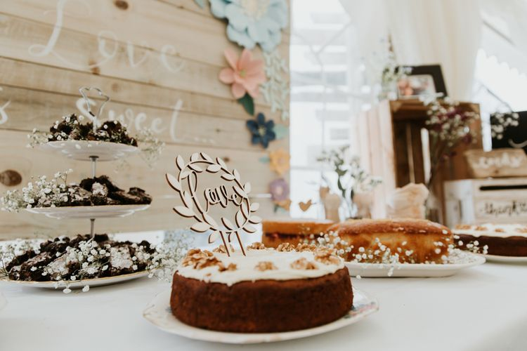Cake Table For Wedding // Eco Friendly Budget Wedding At Slade Farm In Wales With Images From Francesca Hill Photographer