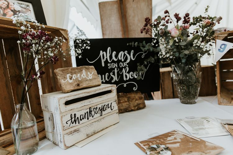 Card & Gift Table For Wedding // Eco Friendly Budget Wedding At Slade Farm In Wales With Images From Francesca Hill Photographer