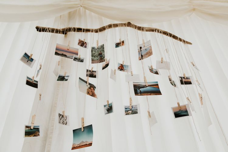 Photo Display For Wedding // Eco Friendly Budget Wedding At Slade Farm In Wales With Images From Francesca Hill Photographer