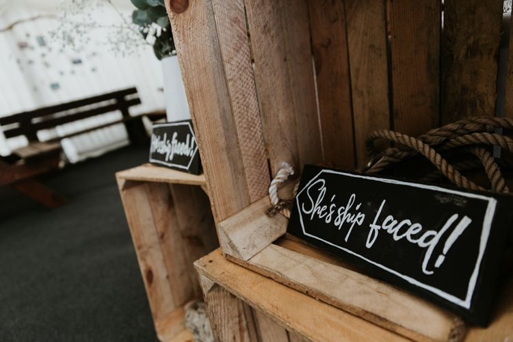 Bar Signs For Wedding // Eco Friendly Budget Wedding At Slade Farm In Wales With Images From Francesca Hill Photographer