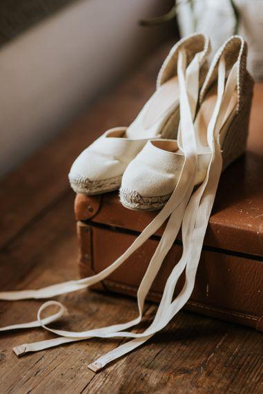 Espadrille Wedding Shoes   Outdoor Bohemian Destination Wedding at La Selva, Tuscany   Damien Milan Photography