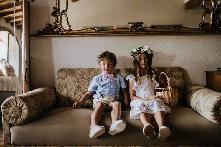 Flower Girl and Page Boy   Outdoor Bohemian Destination Wedding at La Selva, Tuscany   Damien Milan Photography