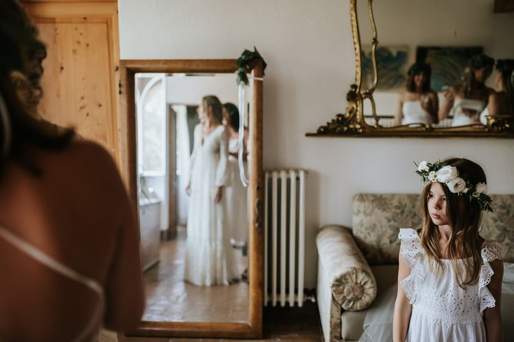 Wedding Morning Bridal Preparations   Bride in Spell & the Gypsy Collective Bell Sleeve Wedding Dress   Outdoor Bohemian Destination Wedding at La Selva, Tuscany   Damien Milan Photography