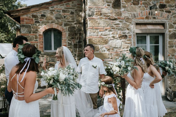Bridal Party   Bridesmaids in White Dresses   Bride in Spell & The Gypsy  Collective Bell Sleeve Boho Wedding Dress      Outdoor Bohemian Destination Wedding at La Selva, Tuscany   Damien Milan Photography