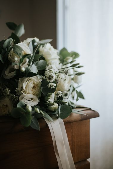 White & Green Bridal Bouquet   Outdoor Bohemian Destination Wedding at La Selva, Tuscany   Damien Milan Photography