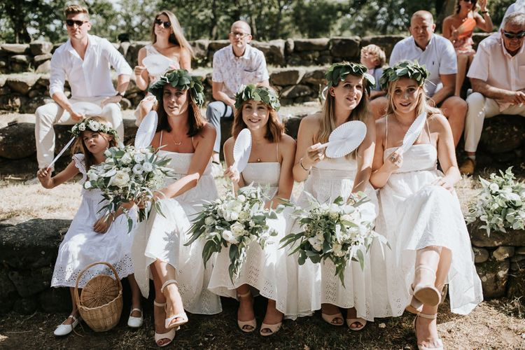 Wedding Ceremony   Bridal Party in White Dresses & Green Flower Crowns   Outdoor Bohemian Destination Wedding at La Selva, Tuscany   Damien Milan Photography