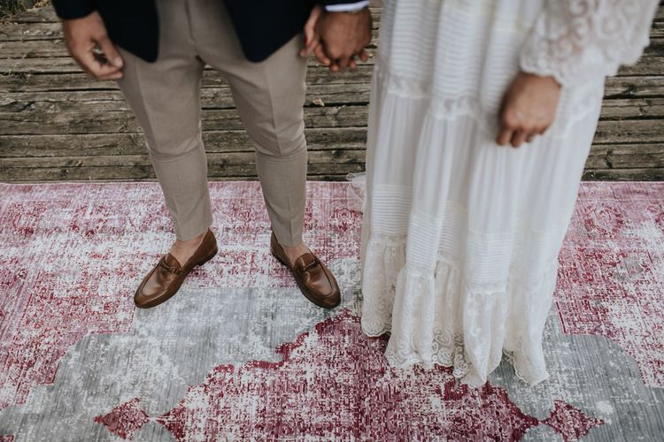 Wedding Ceremony   Bride in Spell & the Gypsy Collective Bell Sleeve Wedding Dress   Groom in Chino's & Blazer   Outdoor Bohemian Destination Wedding at La Selva, Tuscany   Damien Milan Photography