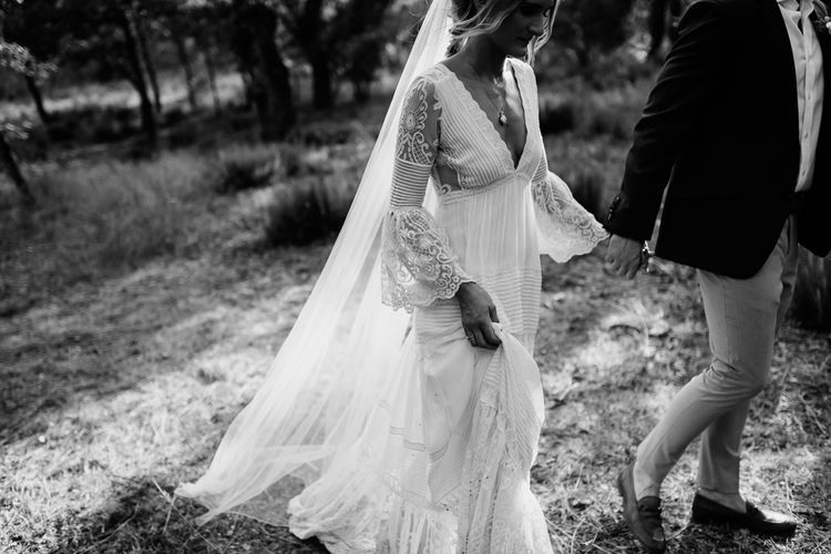 Bride in Spell & the Gypsy Collective Bell Sleeve Wedding Dress   Outdoor Bohemian Destination Wedding at La Selva, Tuscany   Damien Milan Photography
