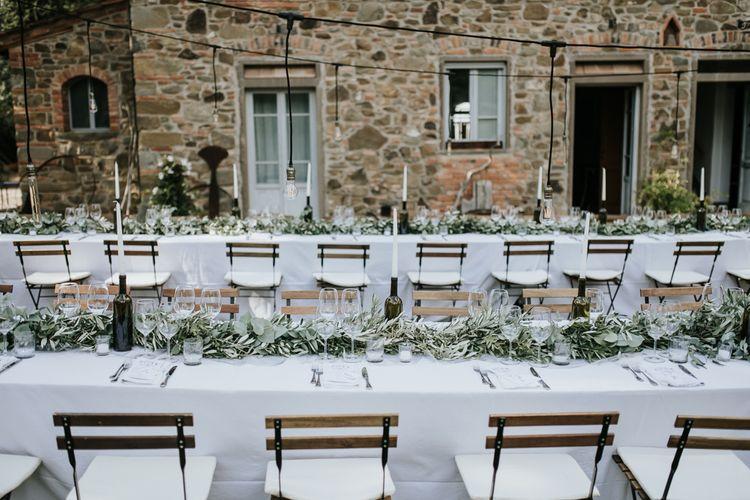 Festoon Lit Outdoor Reception   Bohemian Destination Wedding at La Selva, Tuscany   Damien Milan Photography