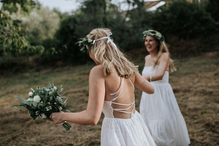 Bridesmaids in White Tie Back Dresses   Outdoor Bohemian Destination Wedding at La Selva, Tuscany   Damien Milan Photography
