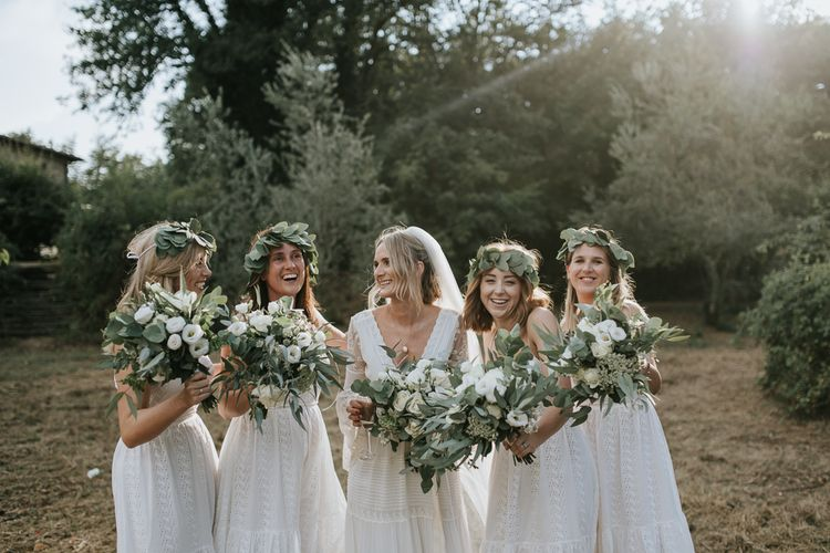 Bridal Party   Bride in Spell & the Gypsy Collective Bell Sleeve Wedding Dress   Bridesmaids in White Dresses   Outdoor Bohemian Destination Wedding at La Selva, Tuscany   Damien Milan Photography