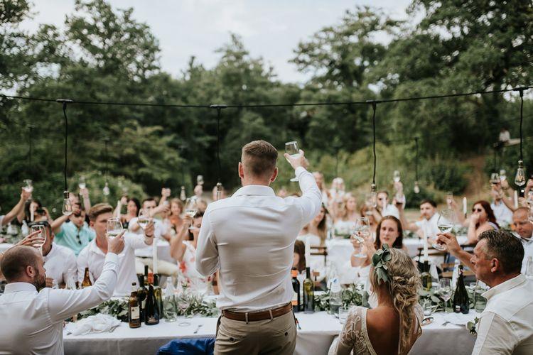 Wedding Reception Speeches   Groom in Chino's & Blazer   Outdoor Bohemian Destination Wedding at La Selva, Tuscany   Damien Milan Photography