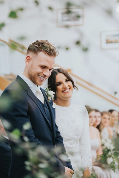 Bride and groom during wedding ceremony in Yorkshire