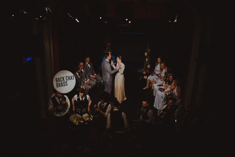 Sheffield wedding with theatre ceremony and brass band