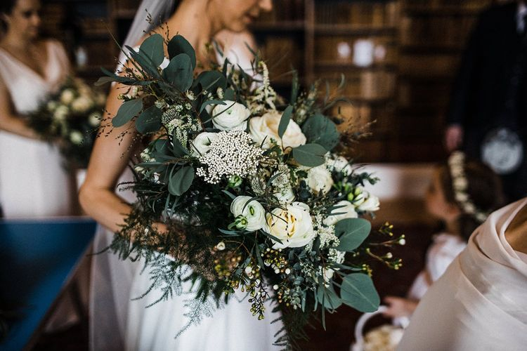 White and green wedding bouquet at Blairquhan Castle