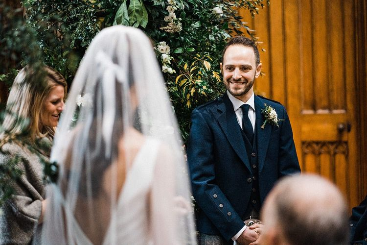 Groom sees bride for first time at Blairquhan Castle wedding