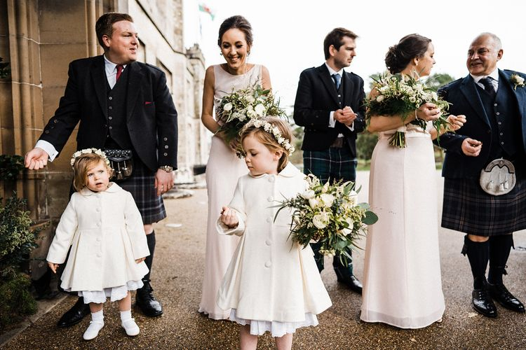 Bridesmaids and flower girls at Blairquhan Castle