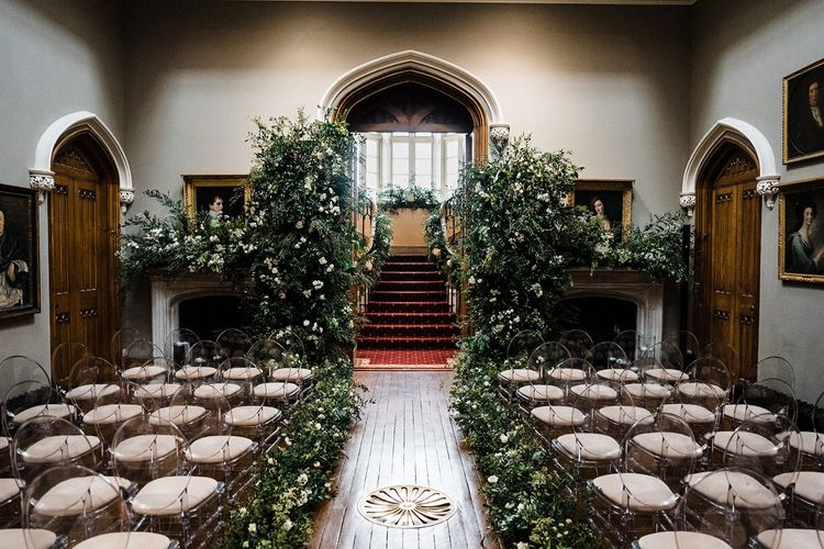 Blairquhan Castle wedding ceremony with flower installation